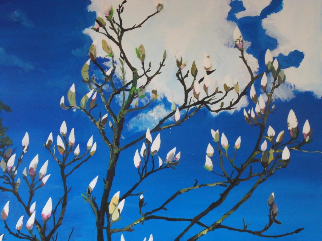 """""""Vor der Blüte"""", Acryl auf Leinwand, 2015, 1 x 1 m"""